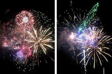 長良川の花火大会スターマイン
